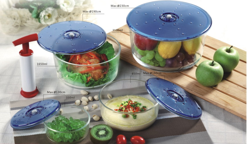 Heat-resistant Borosilicate Glass Vacuum Food Saver with Universal Lids