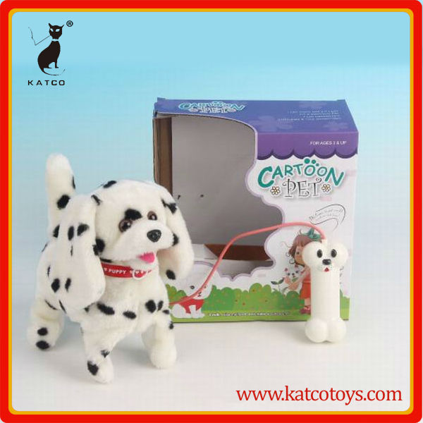 voice control walking plush dog with swinging tail