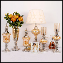 Brand New Glass And Metal Gift Craft Set With Luxury Orange Color Lamp Vase Jar For Luxury Home Decor