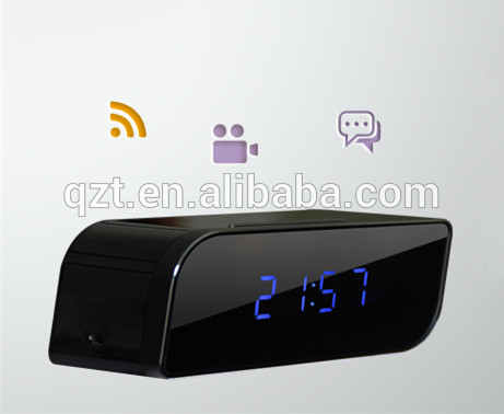 Hot selling HD 720P T8S wifi mini hidden came wireless clock camera with ir night vision and motion detection