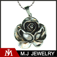 Womens Rose Flower 316L Stainless Steel Pendant Necklace With Beads Chain