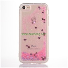 Bling glitter liquid clear floating quicksand mobile phone case for iphone 6 plus