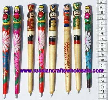 Russian dolls matryoshka style wooden pens with ethnic for Arts and crafts wholesale