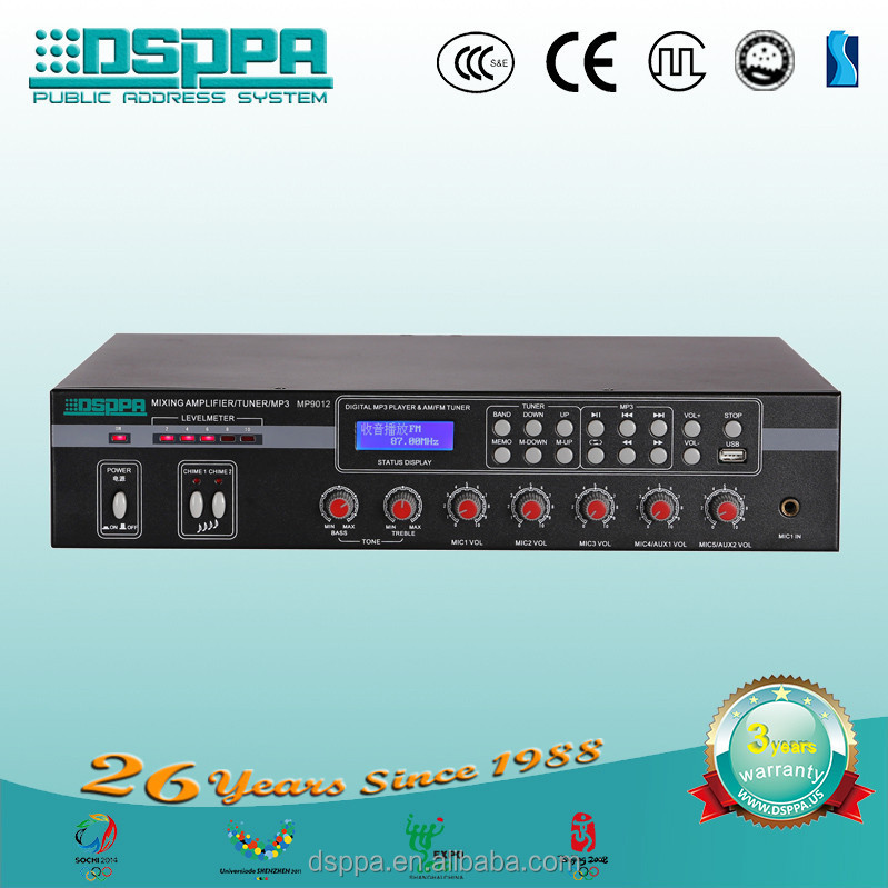 DSPPA MP9012 FM, AM Tuner/MP3 120W Mixing Amplifier
