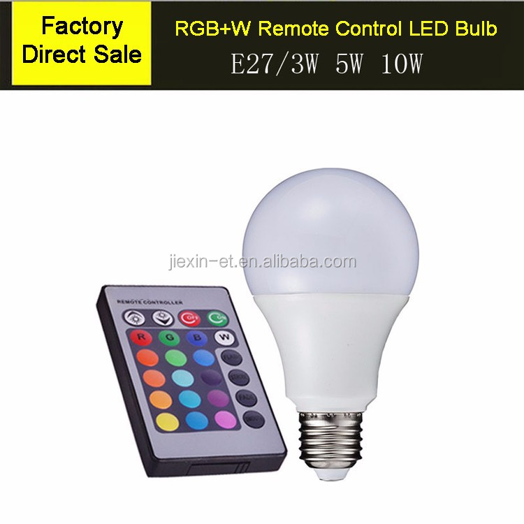 Led 7 color changing light 10w led bulb e26 e27 with remote by