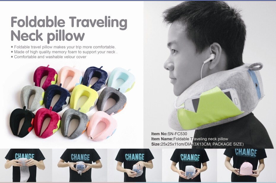 2017 new shape airplane neck rest folding memory foam travel pillow