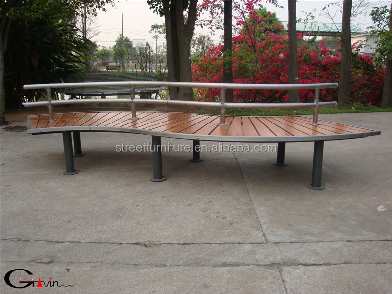 Customize outdoor curved wood bench stainless steel outdoor wooden bench