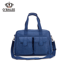 Hot selling designer blue washer wrinkle fabric adult organizer baby diaper bag with changing pad