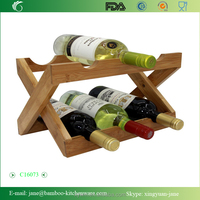 Natural Bamboo Foldable Countertop Wine Rack 6-bottles No Assembly Required