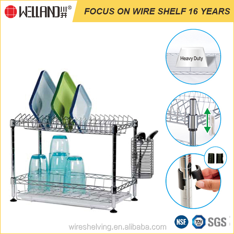2017 adjustable NSF approval steel kitchen wire shelving stainless steel dish rack for home