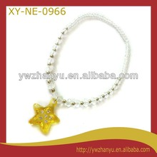 Fashion acrylic yellow star glittered pendant white beads chain necklace for kids