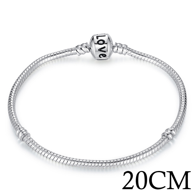 5 Style Silver Plated LOVE Snake Chain Bracelet & Bangle 16CM-21CM Pulseras Lobster PA1104
