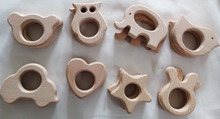 Natural wood baby teethers of animal bird heart star shapes OEM available