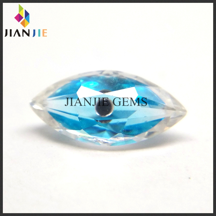 Factory Wholesale Price Aquamarine and White Evil Eye CZ Synthetic Gem Marquise Cubic Zirconia Stone