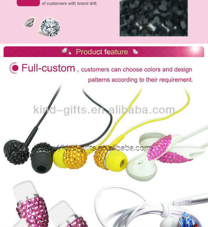 Mini rhinestone Square Box Silicone Earbud Covers For Promotion