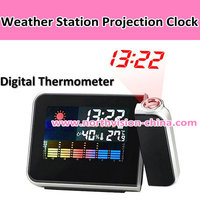 Digital desktop projection clock with humidity display function