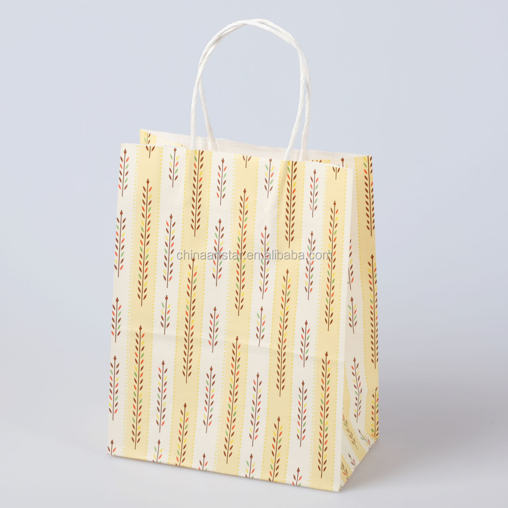 Wholesale brown white paper printed luxury shopping bag