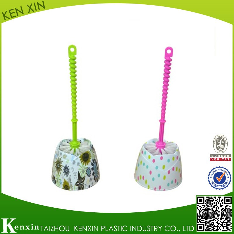 Plastic handle water transfer printing Toilet brush with bowl