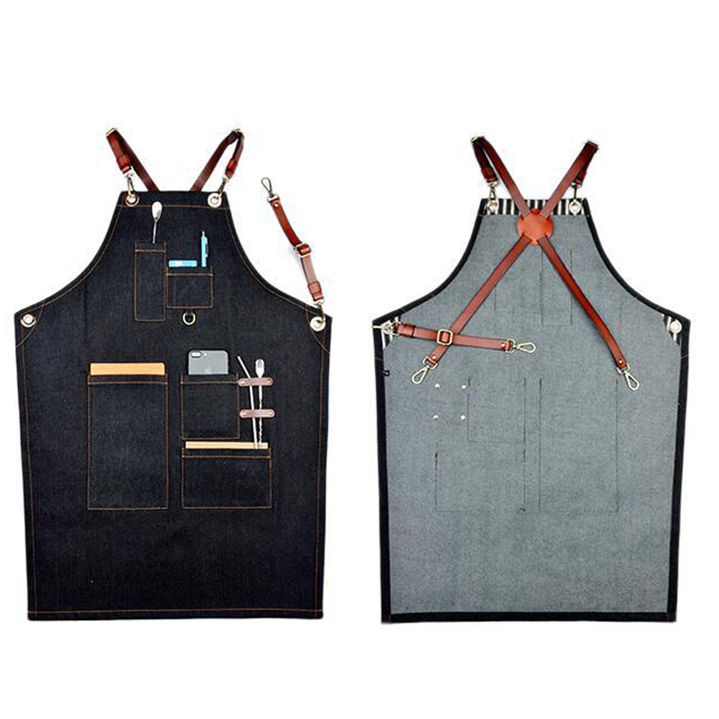 Chef Kitchen Restaurant Cooking Coffee Shop Barbecue Grilling Denim Apron with Pockets and Adjustable Leather Neck Strap