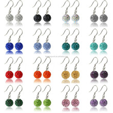 Sparkle CZ Crystal Ball 925 Silver Shamballa Hook Earring for Wedding Party