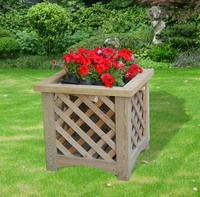 outdoor wooden flower pot
