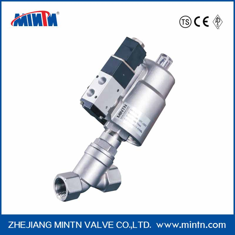 Normally closed pneumatic angle seat solenoid valve with positioner