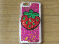 For all iPhone model case embroid fruit bling star powder liquid glitter sand hard PC armor bumper outer shield back case cover