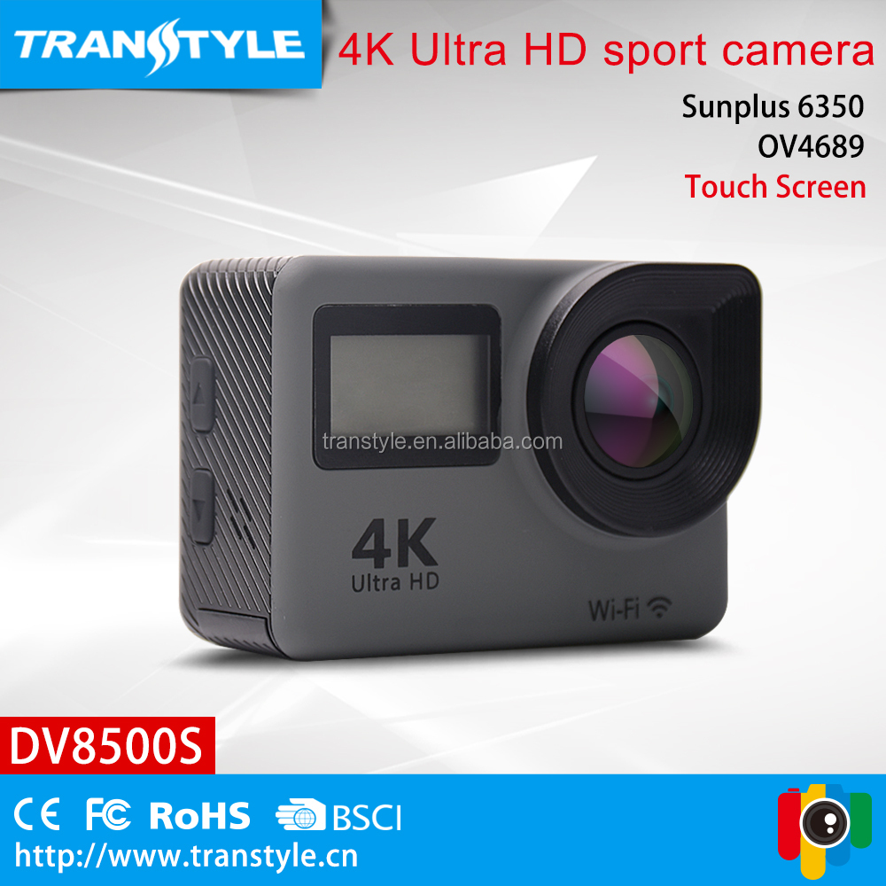 dual screen Touch Screen 4k action camera with 170 degree wide FOV