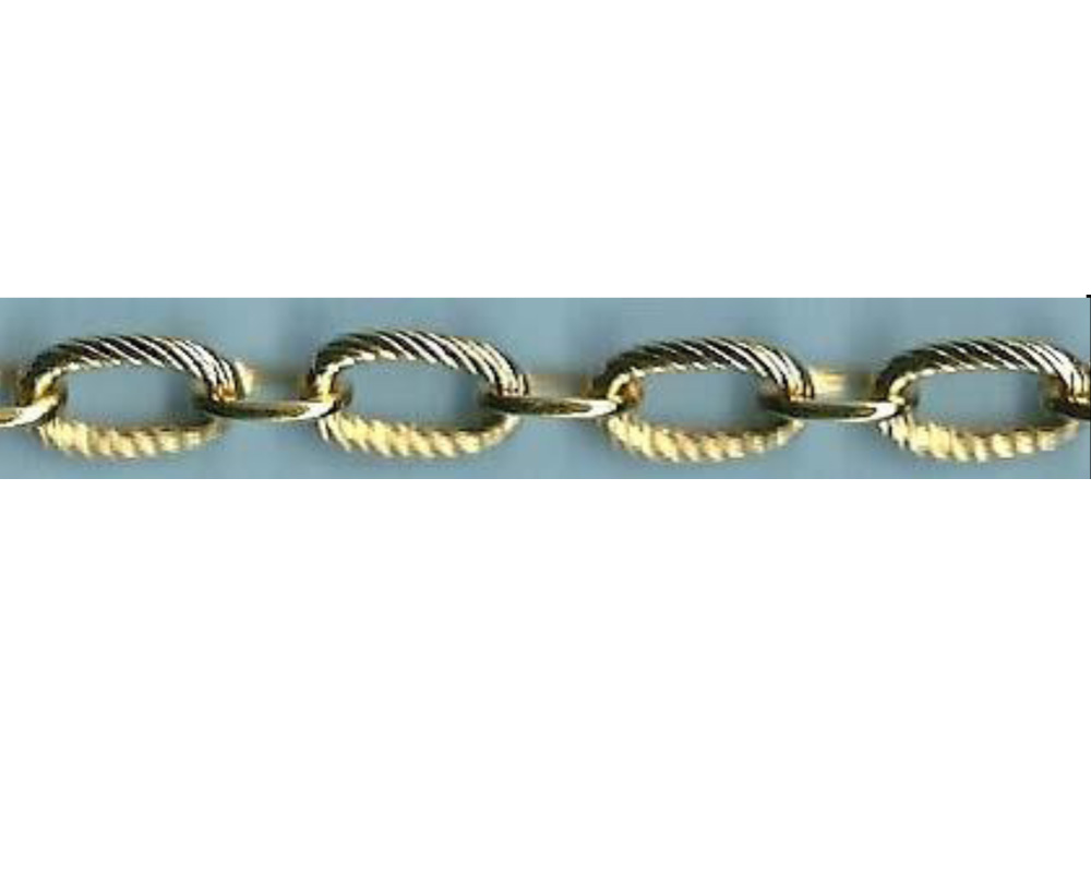 18k Gold Layered 5 MM OPEN TEXTURED LINK ( Model No.700)- Chain by Inches / CM / Meter