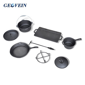 Healthy Eco-friendly Camping Cast Iron Cookware Set With Wooden Box