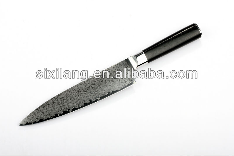 "8"" Japanese VG10 Damascus steel kitchen chef knife with micarta handle"