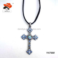 Various Options,Dainty Cross Shaped Pendant Necklace With Heart And Crystal Blossom Design