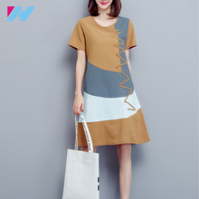 womens fashion Maxi Loose Casual Vintage Patchwork Cotton long dress