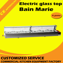 Vending equipment 6-basin electric food showcase bain marie warmer with glass holder