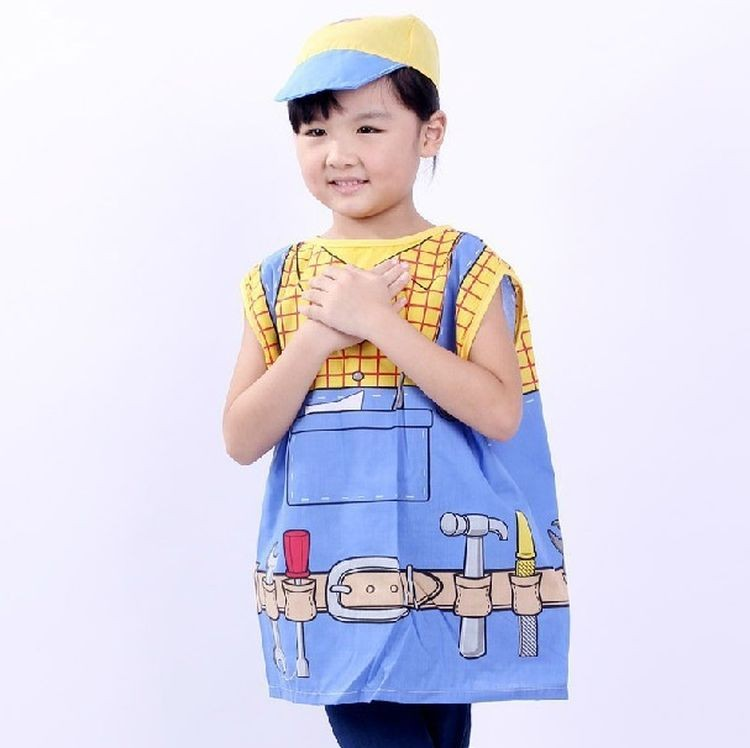 7000966-Cute Kids Cosplay Costumes Children Worker Clothes Costumes For Halloween