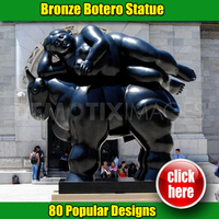 Fernando Botero style sculpture of woman and horse