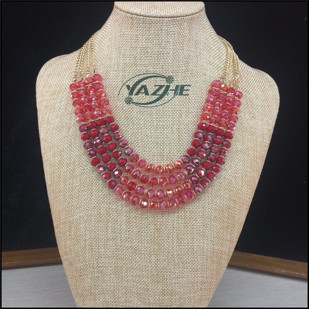 2016 Hot Sale Fashion Jewelry Elegant Beaded Necklace Hot Pink Bead Necklace