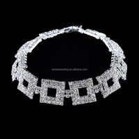 Trendy fashion cube white gold crystal bracelet for lady vietnam handicraft