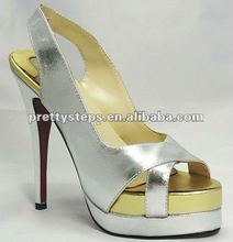 Pretty Steps 2012 PU silver cheap price wholesale sandals for women ,hot selling accept small order shoe for lady