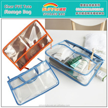 Wholesale Waterproof Clear PVC/Vinyl Travel Organizer Makeup Bag With Compartments