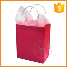 Customized printed white kraft paper pink paper shopping bag