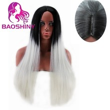 wholesale 70cm long straight black to silver grey ombre Synthetic Hair Wig cosplay wigs Synthetic wig