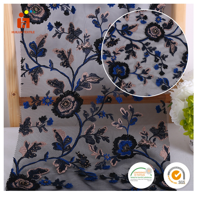 China wholesale muticolor flower traditional textile embroidery organza fabric design