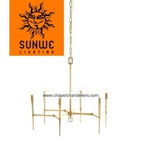 Mid-century modern design China supplier 6 lights brass torch-like tapered arms finished chandelier