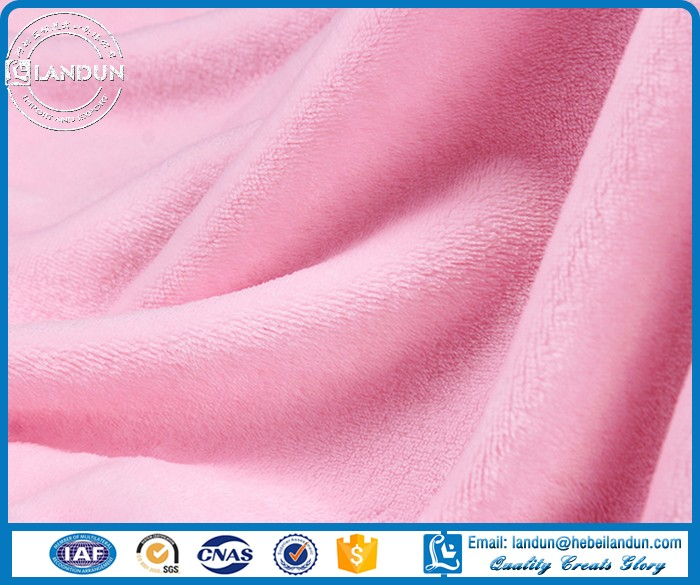 Polyester brushed Plain dyed knited flannel fabric