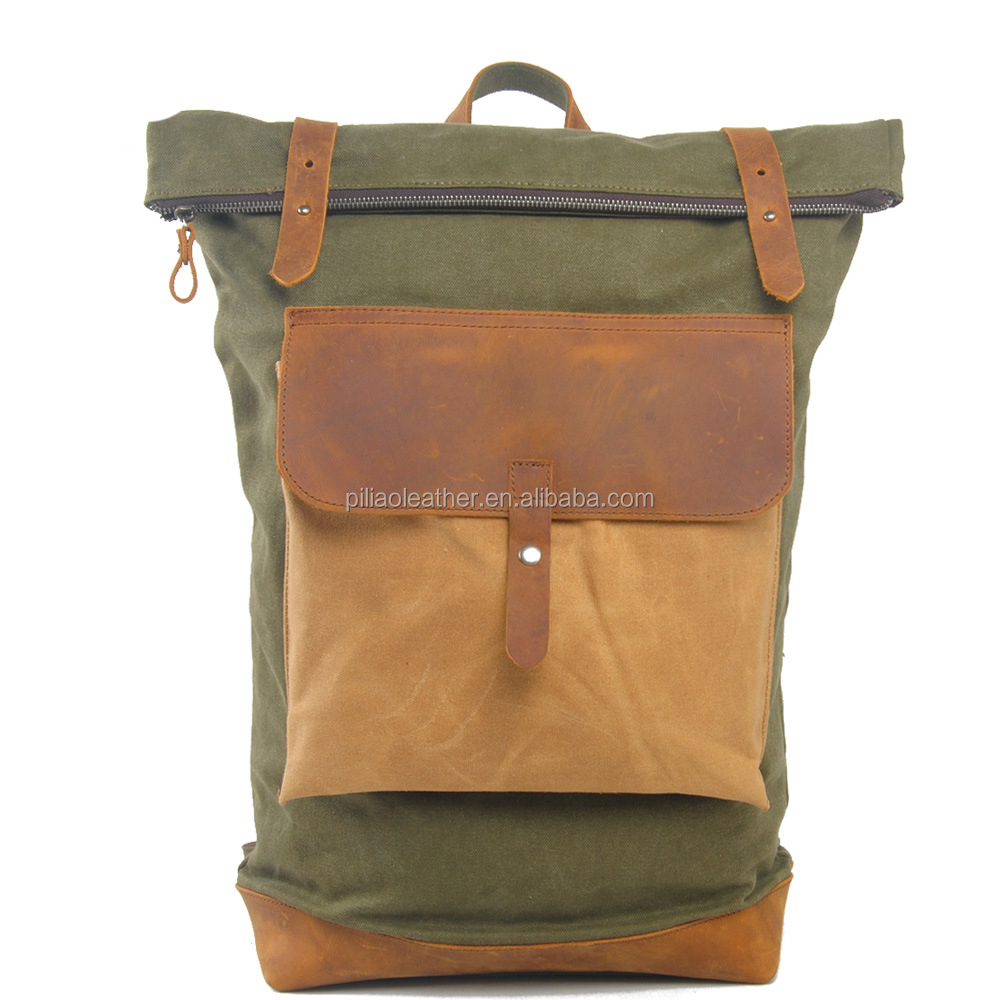 Vintage Waxed Canvas rolltop backpack