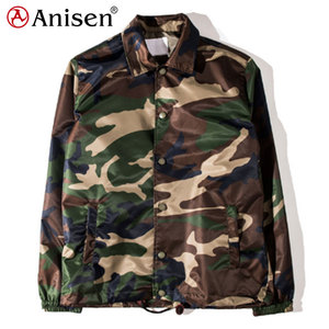 Street fashion custom men casual camo lightweight nylon polyester windbreaker waterproof coaches jacket