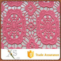 Chemical Embroidery Fabric Follower Pattern Dubai Water Soluble Lace Fabric For Wedding Dresses