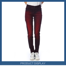 New design skinny woman jean dark red denim jeans