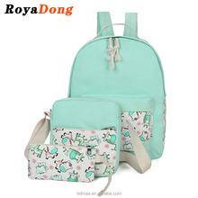 RoyaDong Kids School Bags Printing Animal Women Backpacks Set For Teenage Girls 3 Pieces Backpack+Crossbody Bag+Pencil Bag set